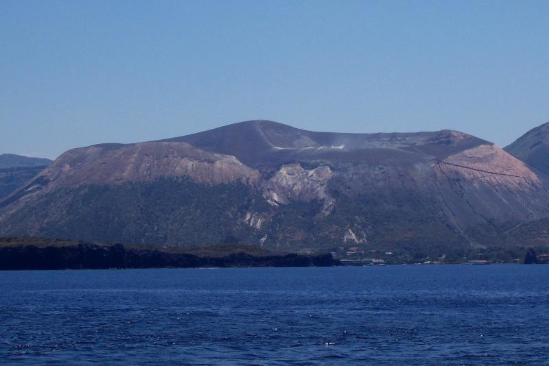 Main crater of the island of Vulcano...yellow sulphur emissi