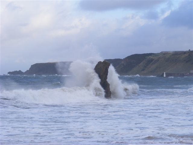 One of The 3 kings rocks at Cullen wears a cloak of waves