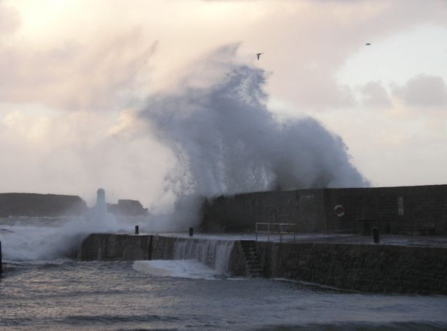 An angry sea at Cullen Harbour on New Year's Day.